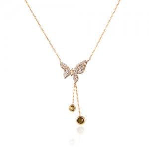 گردنبند طلا زنانه طرح پروانه  با نگین cz کد CN316