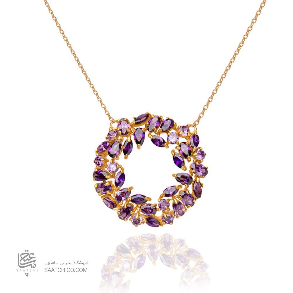 گردنبند طلا زنانه طرح دایره با نگین هایcz کد CN317