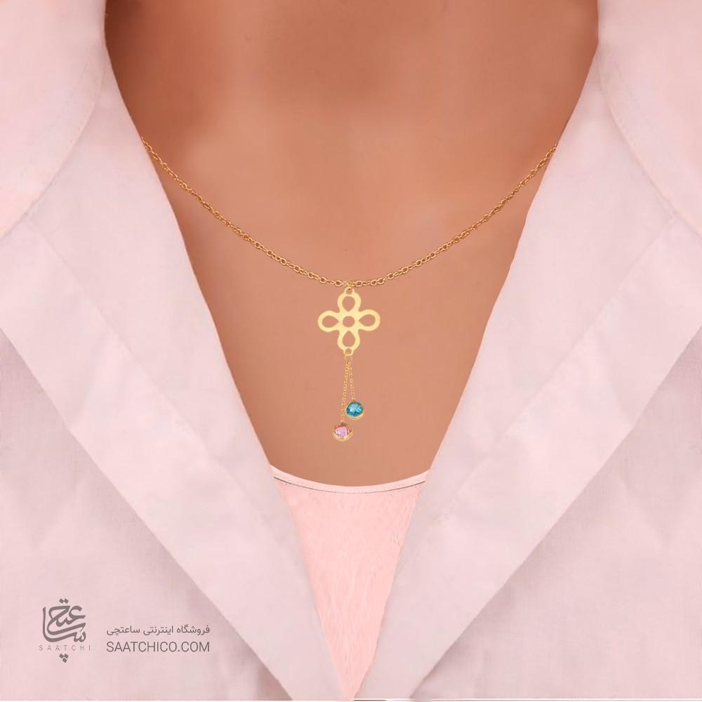 گردنبند طلا زنانه طرح گل کد CN321