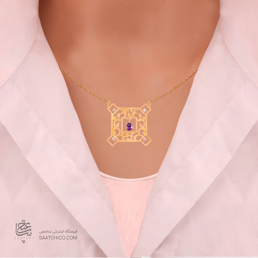 گردنبند طلا زنانه طرح اسلیمی با نگین های cz کد CN325