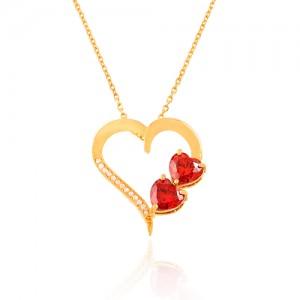 گردنبند طلا زنانه طرح قلب با سنگ های cz کد CN328