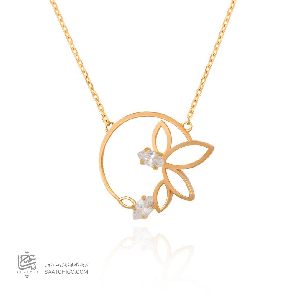 گردنبند طلا زنانه طرح برگ با سنگ های cz کد cn329