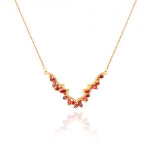 گردنبند طلا زنانه طرح اسلیمی با نگین های cz کد CN330