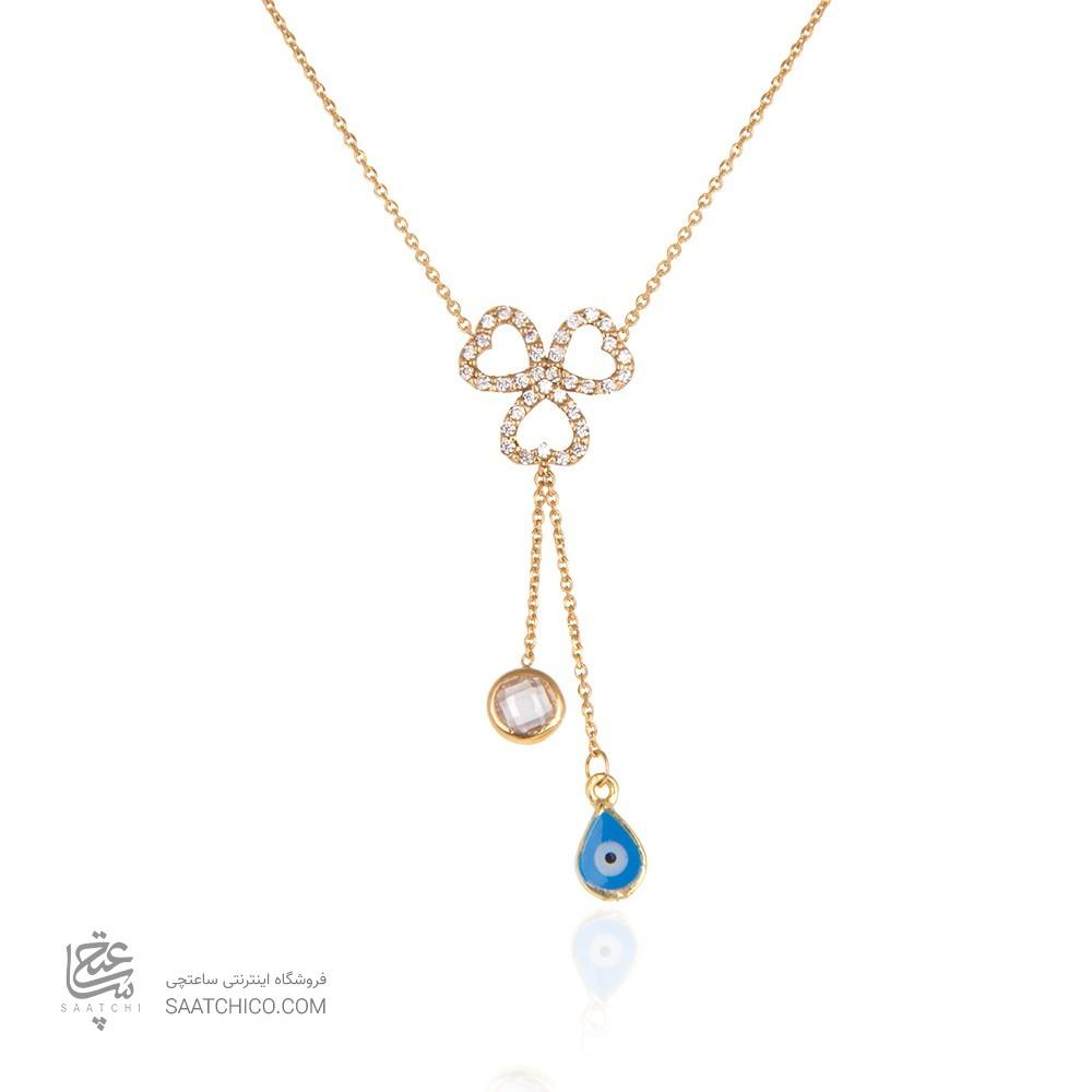گردنبند طلا زنانه طرح گل سه پر با نگین هایcz و سنگ چشم نظر کد CN319
