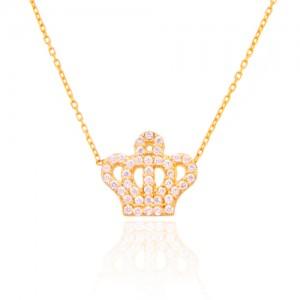 گردنبند طلا زنانه طرح تاج با نگین هایcz کد CN322