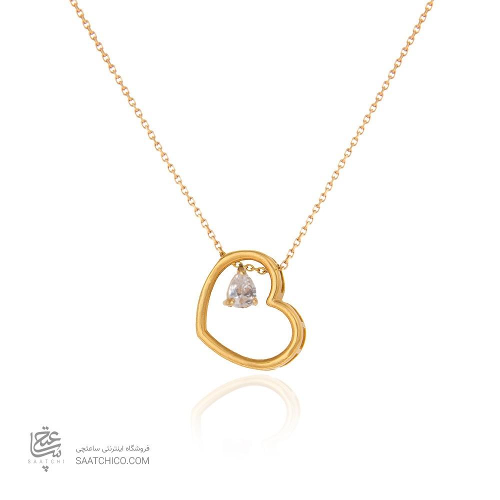 گردنبند طلا زنانه طرح قلب ولنتاین با سنگ cz کد CN334