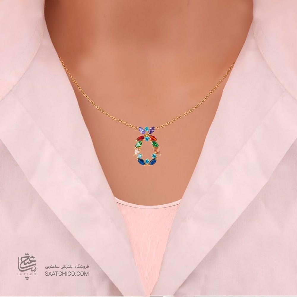 گردنبند طلا زنانه طرح هندسی با نگین هایcz کد CN336