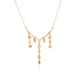 گردنبند طلا زنانه طرح اسلیمی با نگین های cz کد CN335