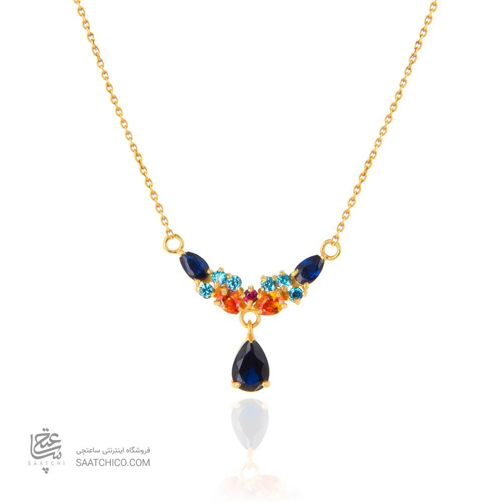 گردنبند طلا زنانه طرح کلاسیک با نگین هایcz کد CN337