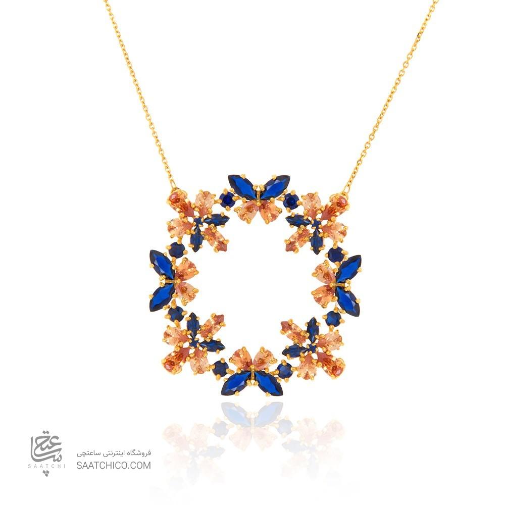 گردنبند طلا زنانه طرح هندسی با نگین هایcz کد CN338