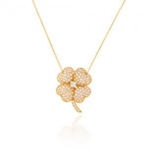 گردنبند طلا زنانه طرح گل با نگین هایcz کد CN339