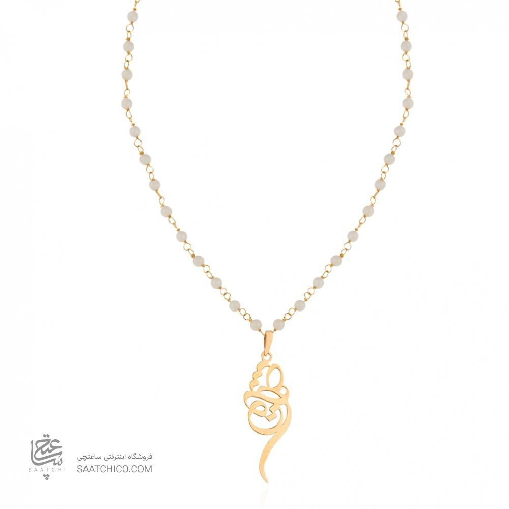 گردنبند رولباسی طلا زنانه طرح عشق ولنتاین با سنگ کد XN605