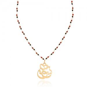 گردنبند رولباسی طلا زنانه طرح عشق ولنتاین با سنگ کد XN606