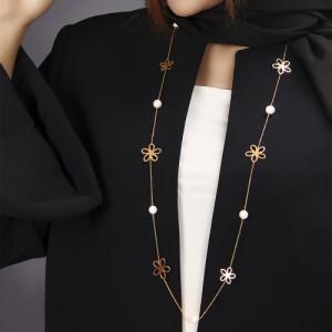 گردنبند رولباسی طلا زنانه طرح گل با مروارید کدXN608