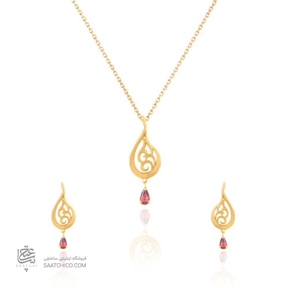 نیم ست طلا زنانه طرح اسلیمی با سنگcz کد CS327
