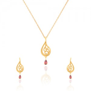 نیم ست طلا زنانه طرح اسلیمی با سنگ کد CS327