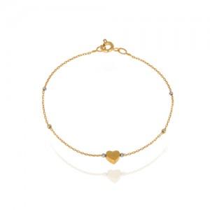 پابند طلا زنانه طرح قلب  ca401