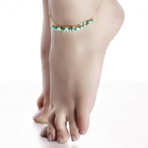 پابند طلا زنانه  با سنگ فیروزه کد xa102