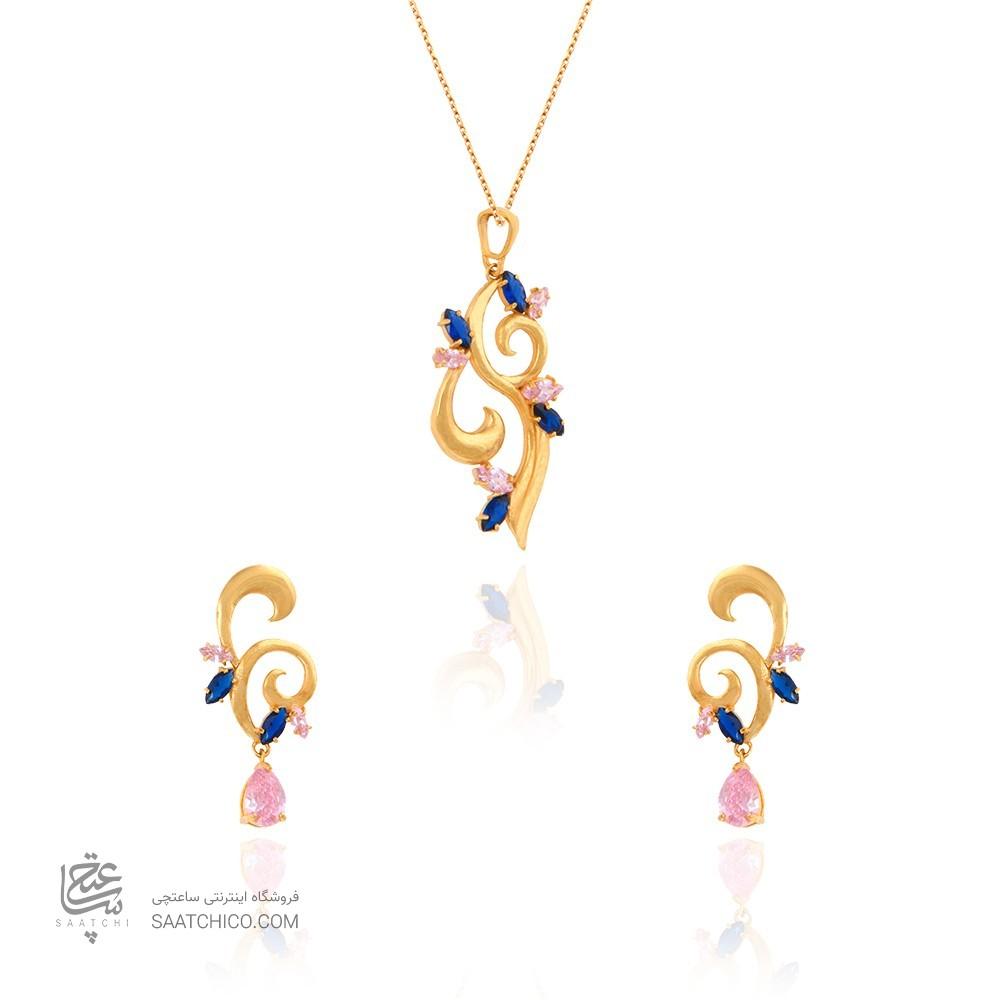 نیم ست طلا زنانه طرح اسلیمی با نگین کد CS320