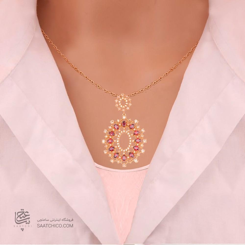 نیم ست طلا زنانه طرح اسلیمی با نگین های cz کد CS321