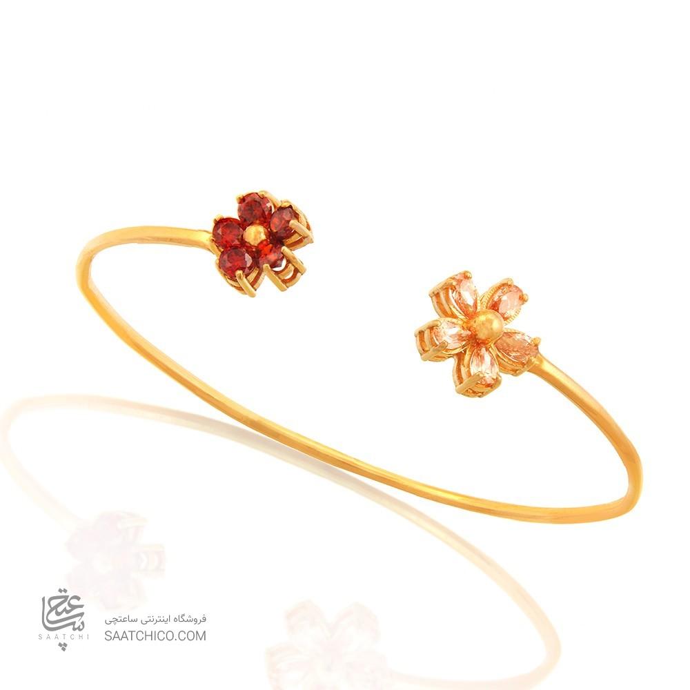 دستبند طلا زنانه طرح گل با نگین کد CB320