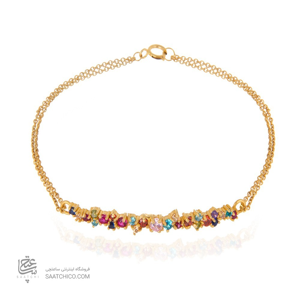 دستبند طلا زنانه مولتی کالر با نگین کد cb324