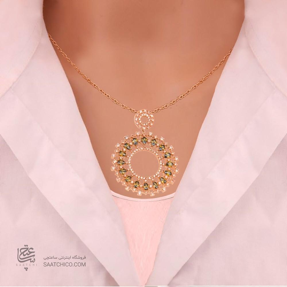 آویز طلا زنانه طرح اسلیمی با نگین های cz کد cp324