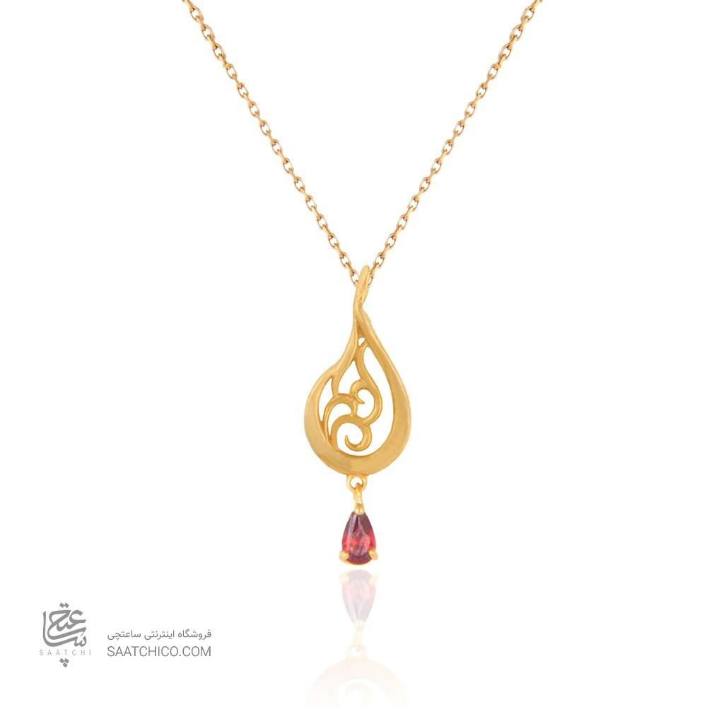 آویز طلا زنانه طرح اشک با سنگ cz کد cp325