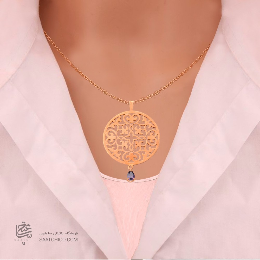 آویز طلا زنانه طرح اسلیمی با سنگ cz کد xp115