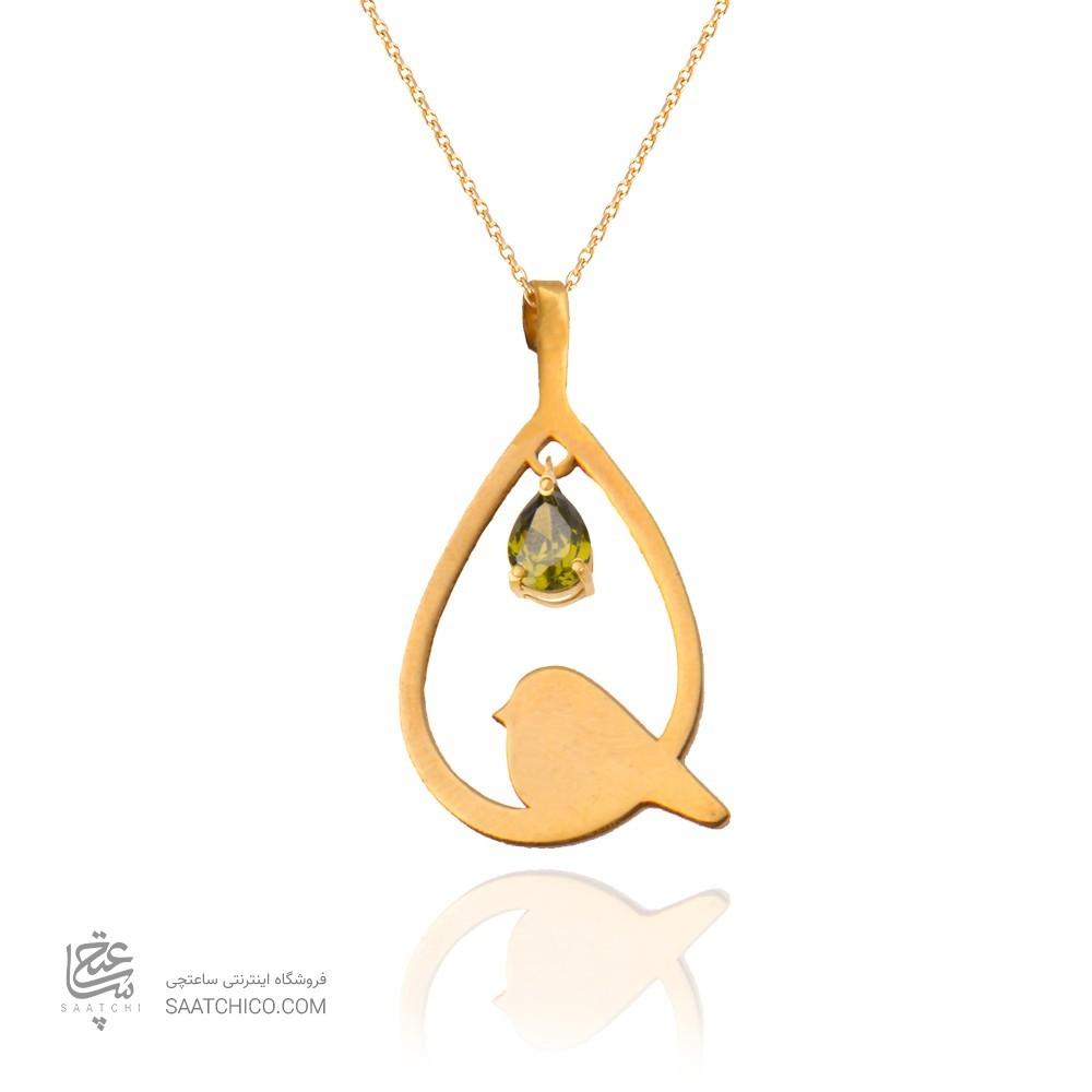 آویز طلا زنانه طرح لانه پرنده با سنگ cz کد116 xp