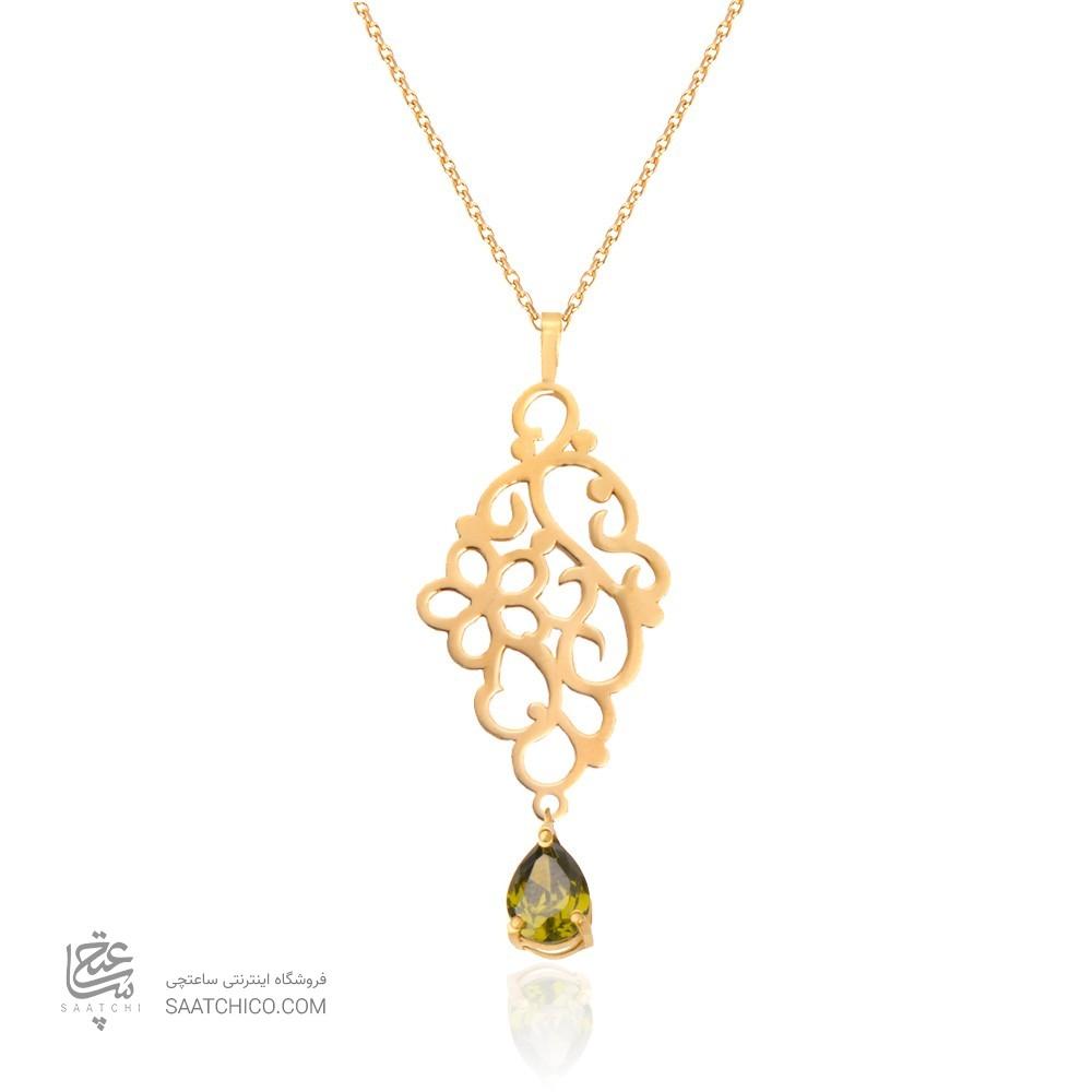 آویز طلا زنانه طرح اسلیمی گل کوچک با سنگ cz کد xp122