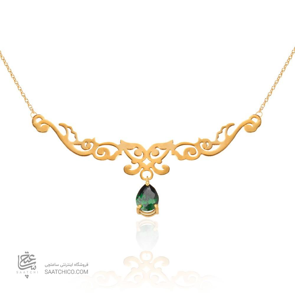 گردنبند طلا زنانه طرح اسلیمی  با سنگ کد xp123