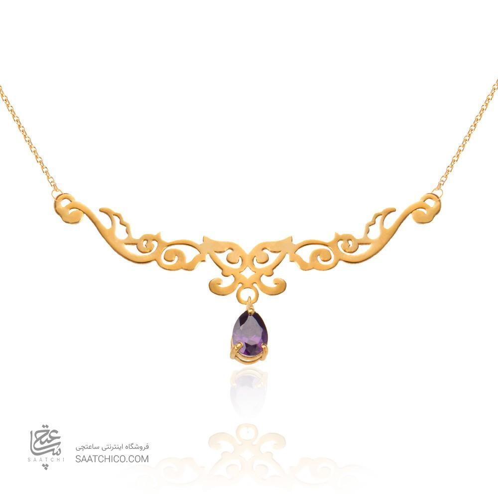 گردنبند طلا زنانه طرح اسلیمی  با سنگ cz کد xp123