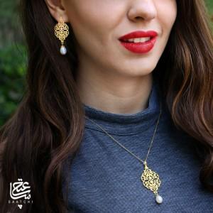 آویز طلا زنانه طرح اسلیمی با مروارید کد xp205