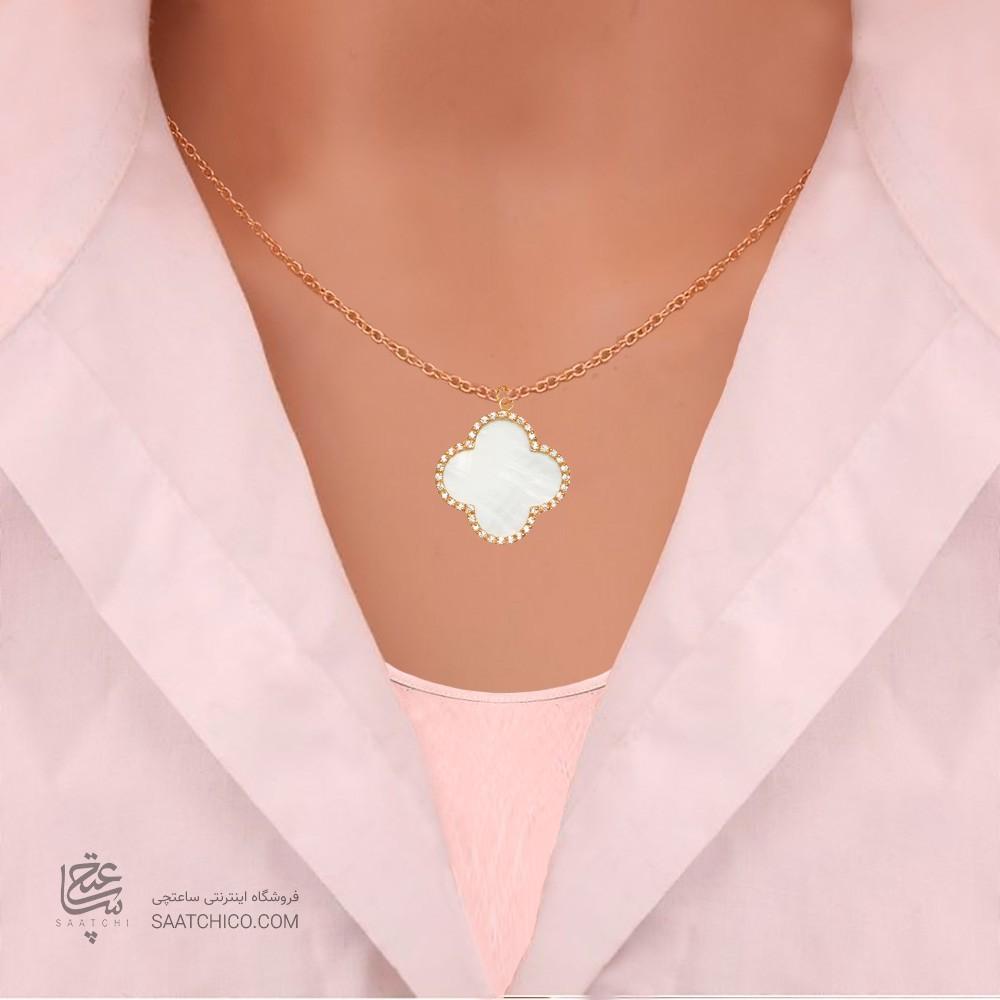 آویز طلا زنانه طرح چهار پر ونکلیف با نگین های cz و صدف سفید  کد xp210