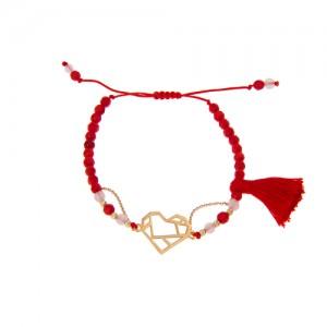 دستبند طلا زنانه طرح قلب ولنتاین کد xb810