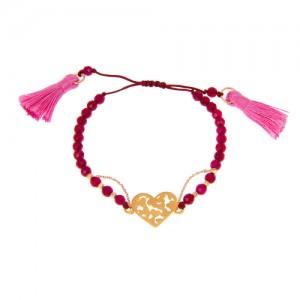 دستبند طلا زنانه طرح قلب ولنتاین کد xb811