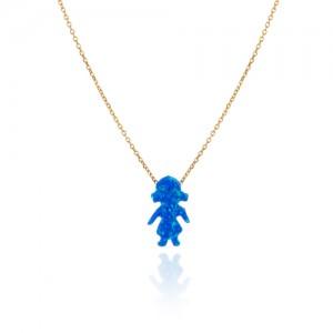 گردنبند طلا کودک با سنگ اوپال طرح دختر کد xn1241