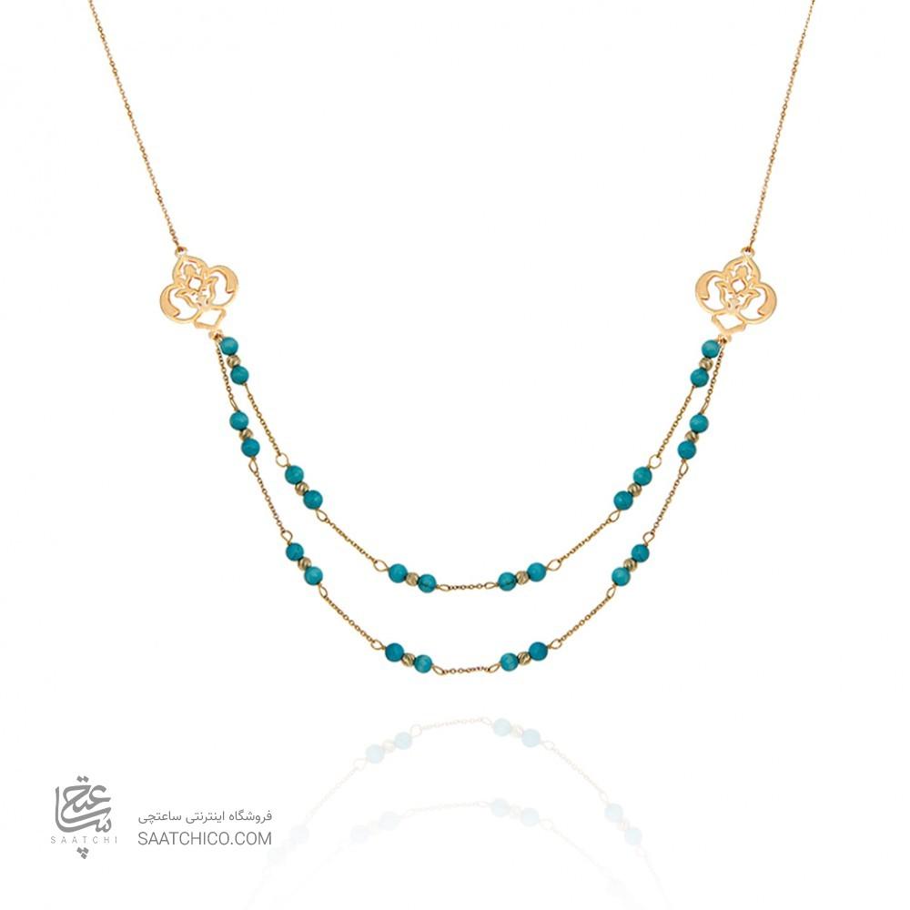 گردنبند طلا زنانه با سنگ فیروزه کد xn116