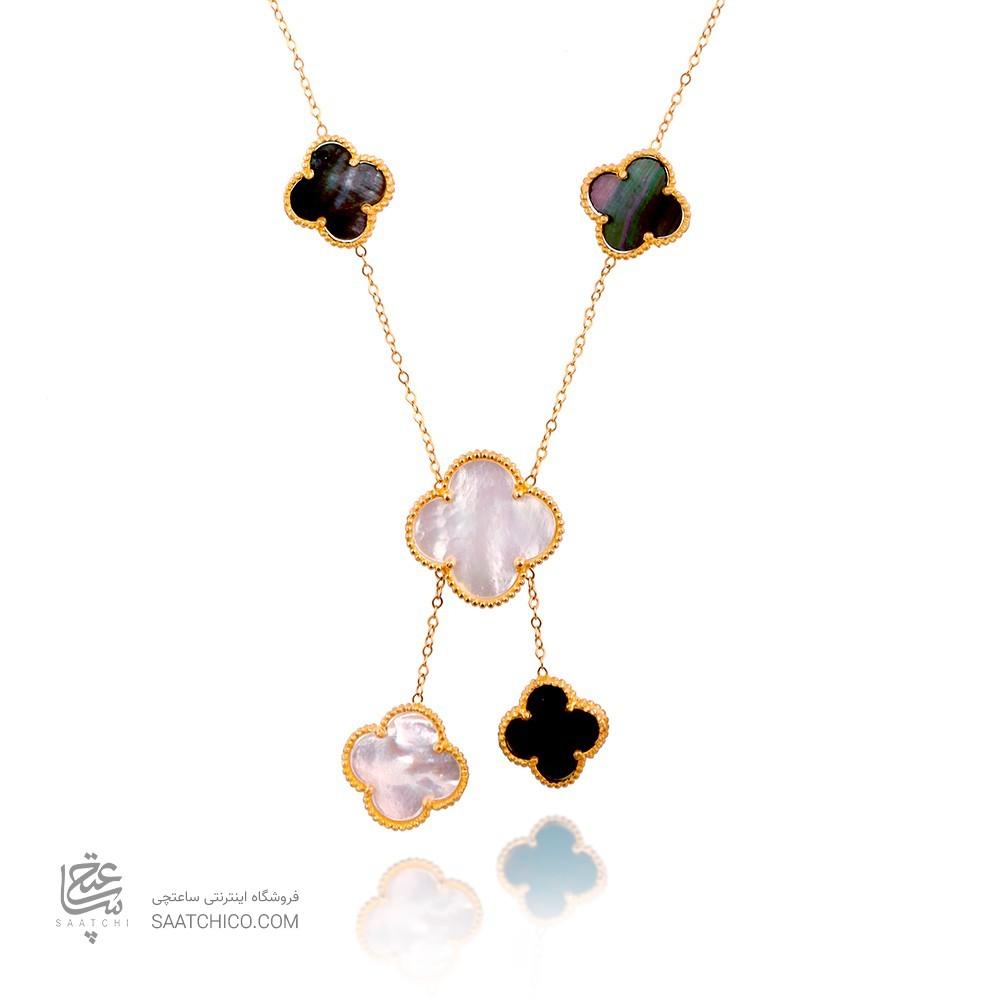گردنبند طلا زنانه طرح ونکلیف کوچک و بزرگ کد xn110