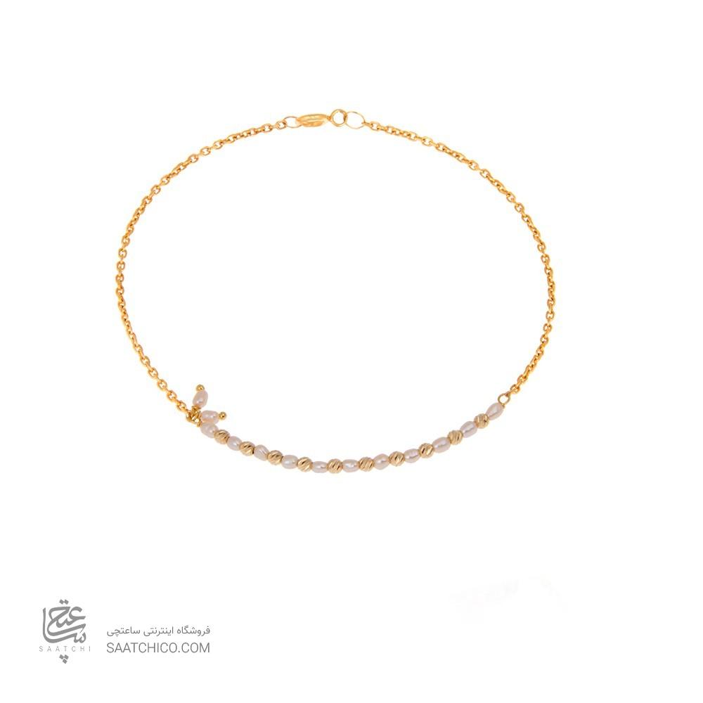 دستبند طلا زنانه با مروارید و گوی البرنادو کد xb817