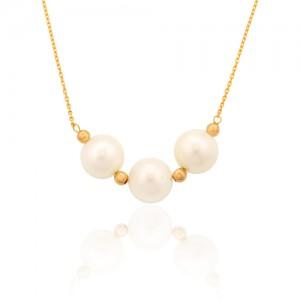 گردنبند طلا زنانه طرح کلاسیک با مروارید و گوی طلا کد xn107