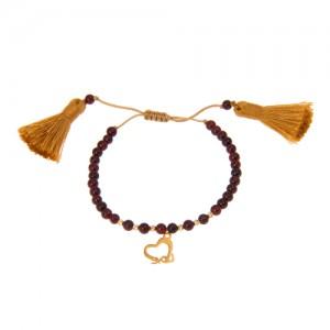 دستبند طلا زنانه طرح قلب با گوی البرنادو کد xb821