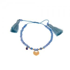 دستبند طلا زنانه طرح قلب با پولک چشم نظر و گوی البرنادو کد xb822