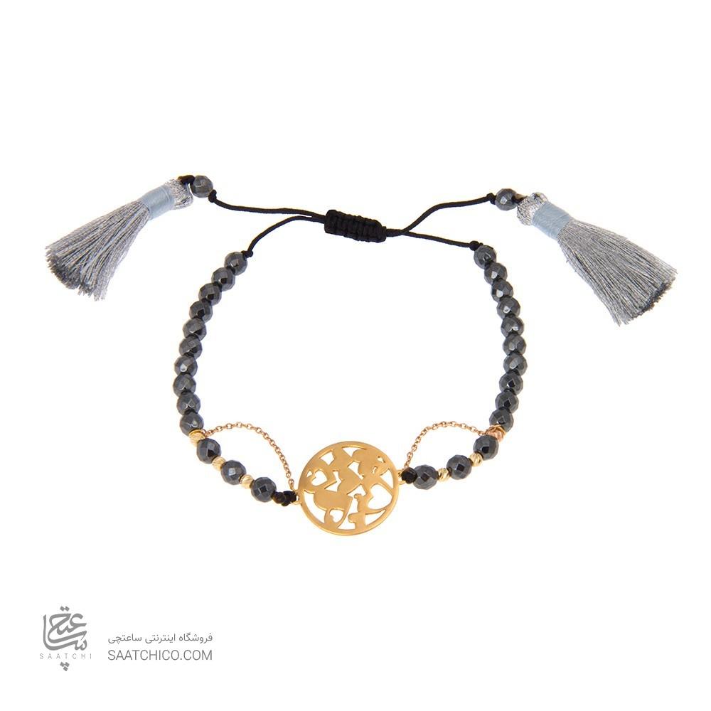 دستبند طلا زنانه طرح قلب با گوی البرنادو کد xb825