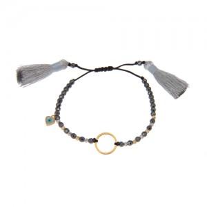دستبند طلا زنانه طرح دایره با پولک چشم نظر و گوی البرنادو کد xb826