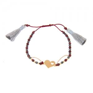 دستبند طلا زنانه طرح قلب با گوی البرنادو کد xb827