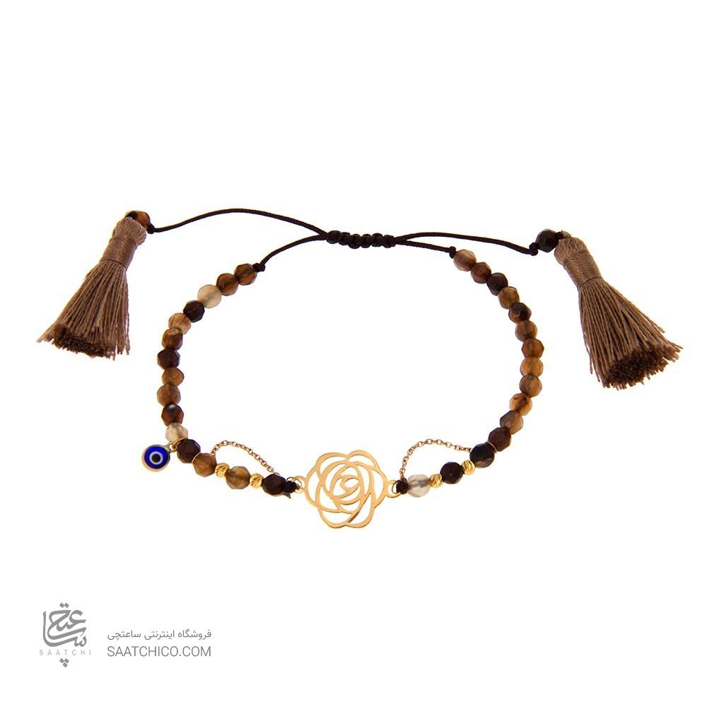 دستبند طلا زنانه گل شنل با پولک چشم نظر و گوی البرنادو طلا کد xb828
