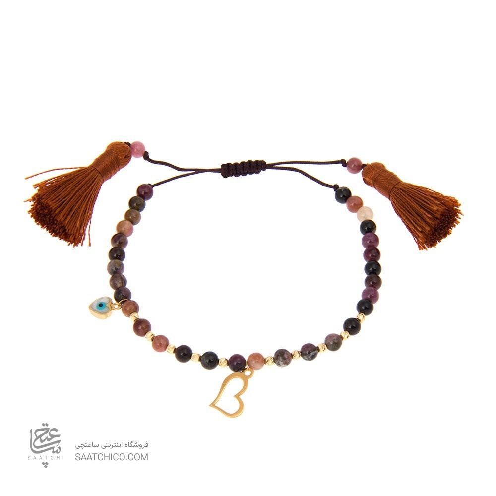 دستبند طلا زنانه طرح قلب با پولک چشم نظر و گوی البرنادو کد xb829