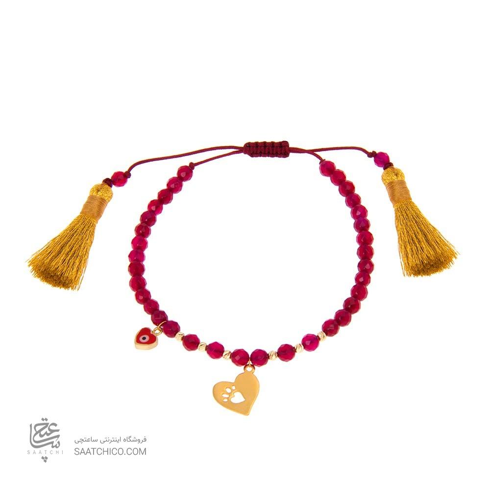 دستبند طلا زنانه طرح قلب با پولک چشم نظر و گوی البرنادو کد xb830